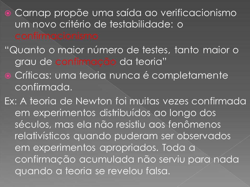 Carnap propõe uma saída ao verificacionismo um novo critério de testabilidade: o confirmacionismo Quanto o maior número de testes, tanto maior o grau de confirmação da teoria Críticas: uma teoria nunca é completamente confirmada.