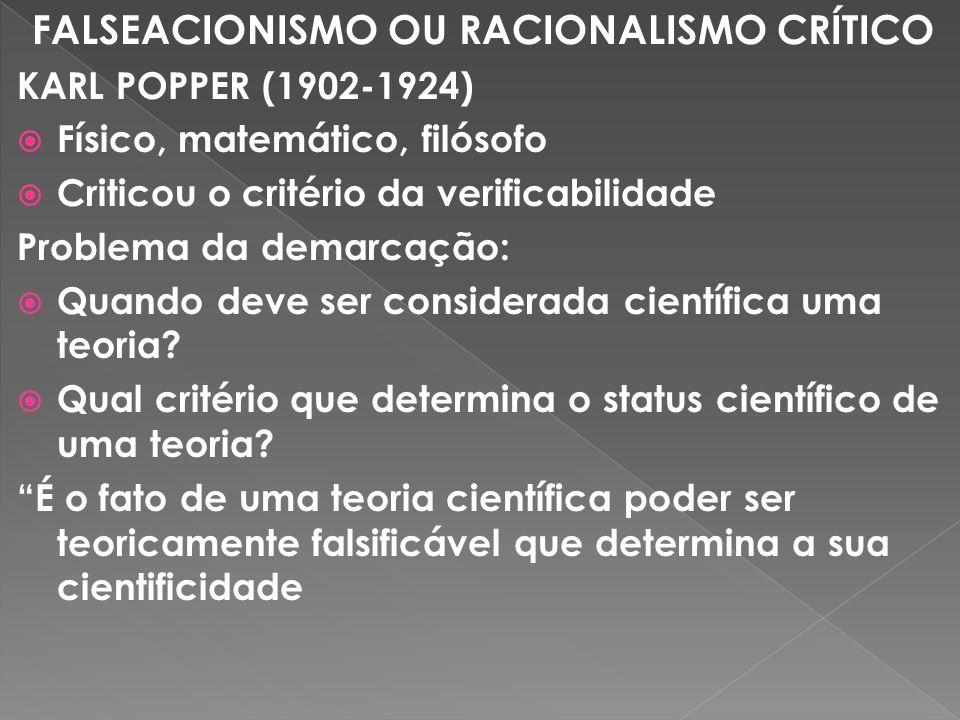 FALSEACIONISMO OU RACIONALISMO CRÍTICO KARL POPPER (1902-1924) Físico, matemático, filósofo Criticou o critério da verificabilidade Problema da demarcação: Quando deve ser considerada científica uma teoria.