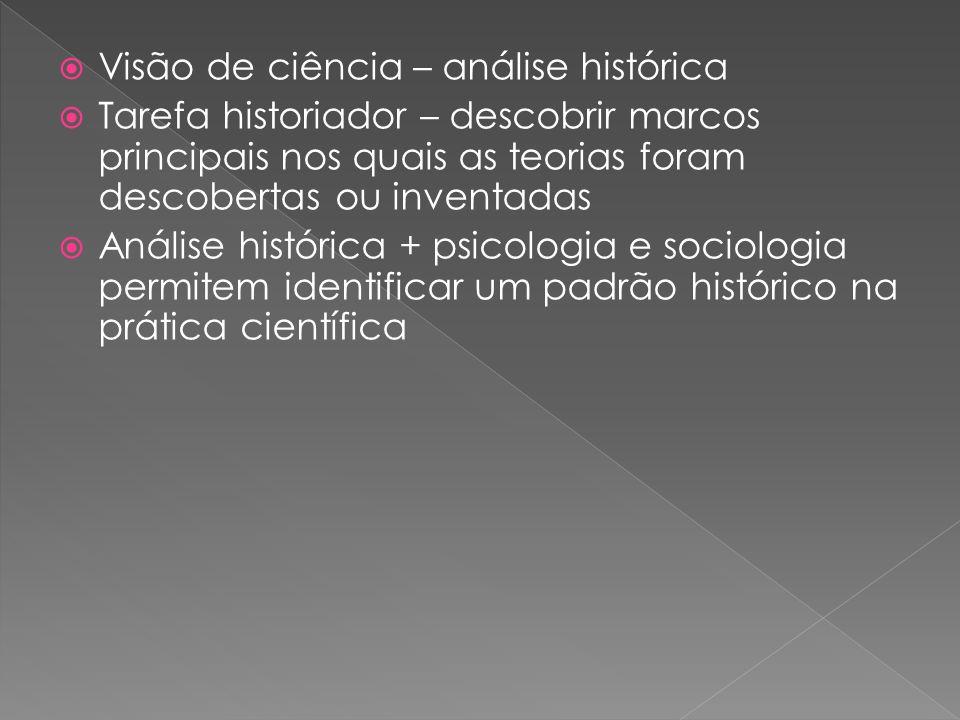 Visão de ciência – análise histórica Tarefa historiador – descobrir marcos principais nos quais as teorias foram descobertas ou inventadas Análise histórica + psicologia e sociologia permitem identificar um padrão histórico na prática científica
