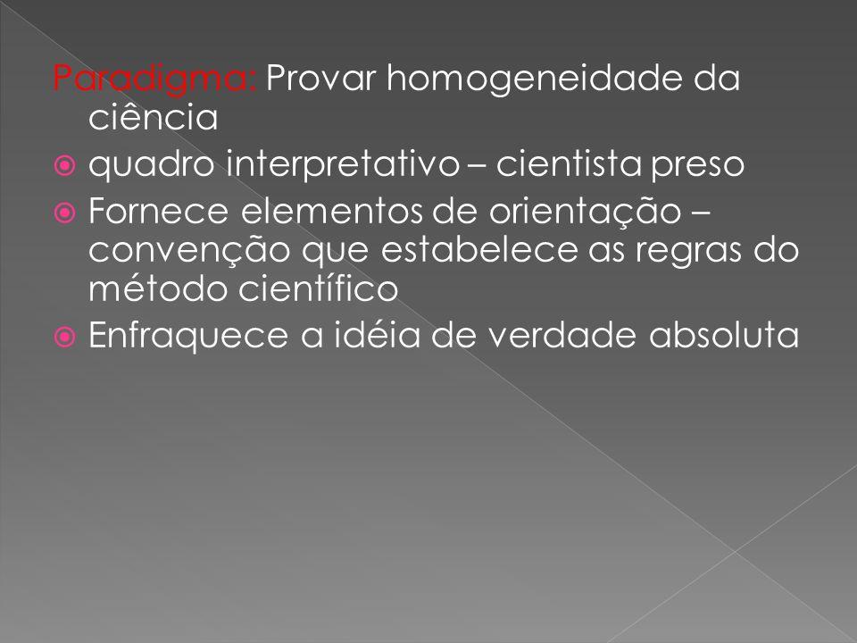 Paradigma: Provar homogeneidade da ciência quadro interpretativo – cientista preso Fornece elementos de orientação – convenção que estabelece as regras do método científico Enfraquece a idéia de verdade absoluta
