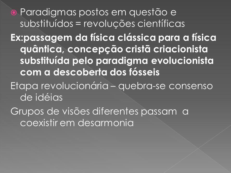 Paradigmas postos em questão e substituídos = revoluções científicas Ex:passagem da física clássica para a física quântica, concepção cristã criacioni
