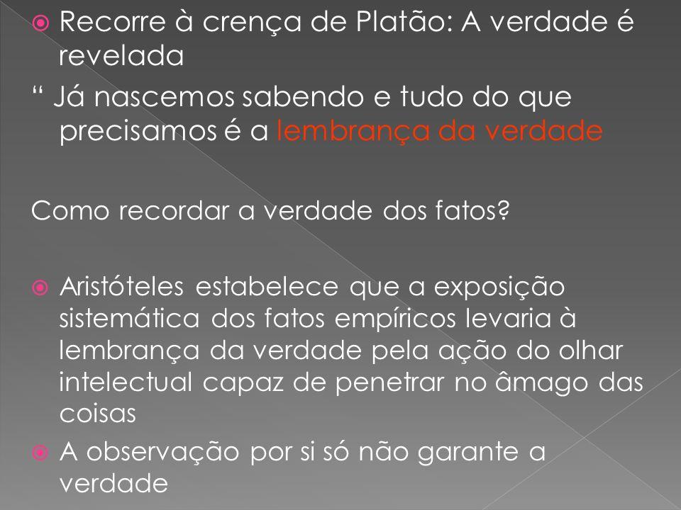 Recorre à crença de Platão: A verdade é revelada Já nascemos sabendo e tudo do que precisamos é a lembrança da verdade Como recordar a verdade dos fat