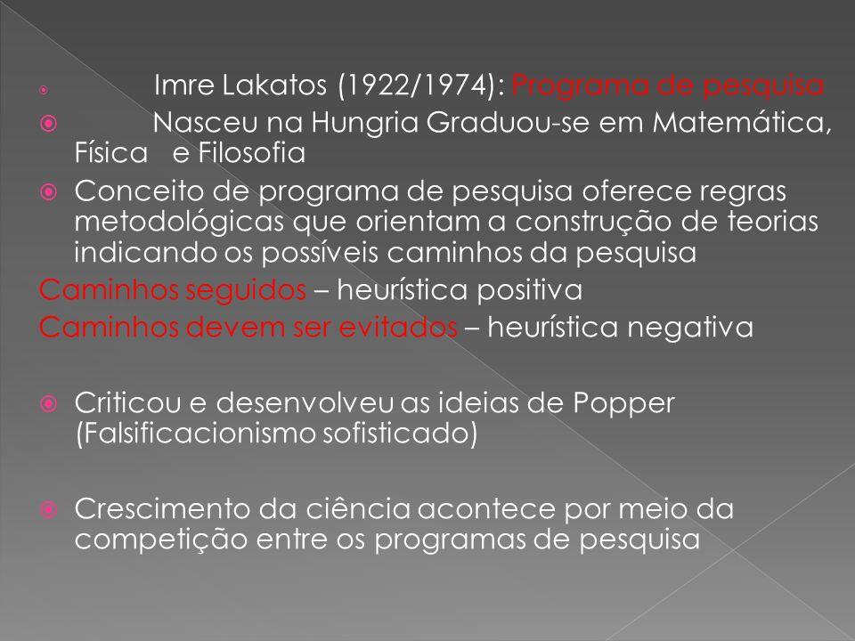Imre Lakatos (1922/1974): Programa de pesquisa Nasceu na Hungria Graduou-se em Matemática, Física e Filosofia Conceito de programa de pesquisa oferece