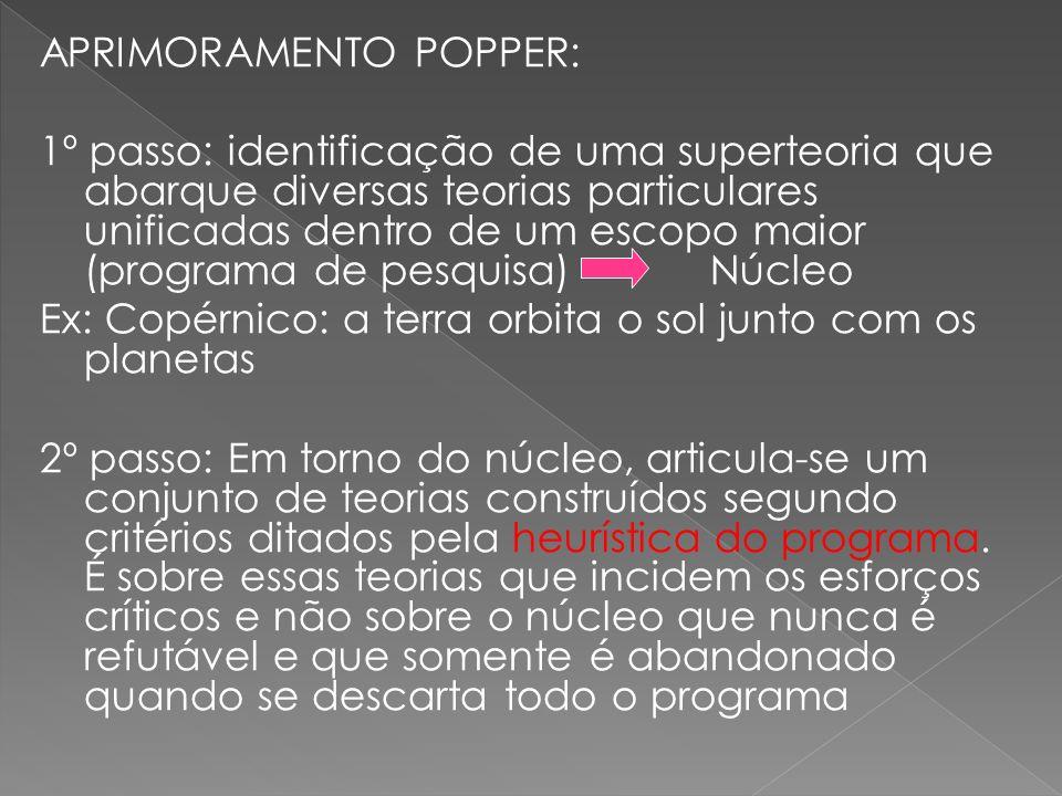 APRIMORAMENTO POPPER: 1º passo: identificação de uma superteoria que abarque diversas teorias particulares unificadas dentro de um escopo maior (progr
