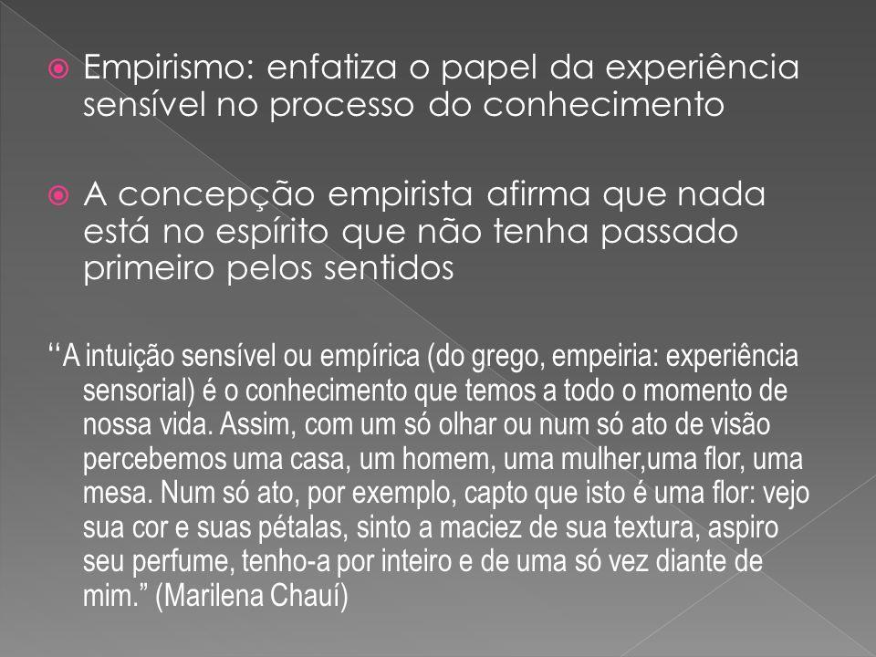 Empirismo: enfatiza o papel da experiência sensível no processo do conhecimento A concepção empirista afirma que nada está no espírito que não tenha p