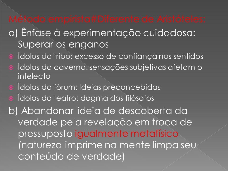 Método empirista#Diferente de Aristóteles: a) Ênfase à experimentação cuidadosa: Superar os enganos Ídolos da tribo: excesso de confiança nos sentidos