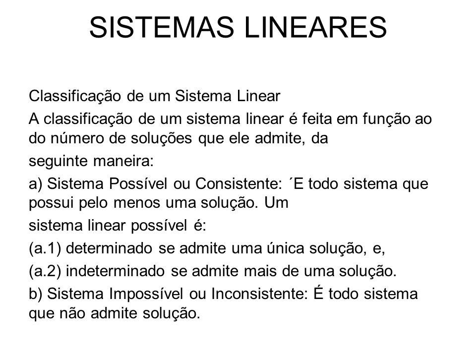 SISTEMAS LINEARES Classificação de um Sistema Linear A classificação de um sistema linear é feita em função ao do número de soluções que ele admite, d