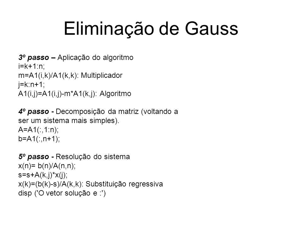 Eliminação de Gauss 3º passo – Aplicação do algoritmo i=k+1:n; m=A1(i,k)/A1(k,k): Multiplicador j=k:n+1; A1(i,j)=A1(i,j)-m*A1(k,j): Algoritmo 4º passo