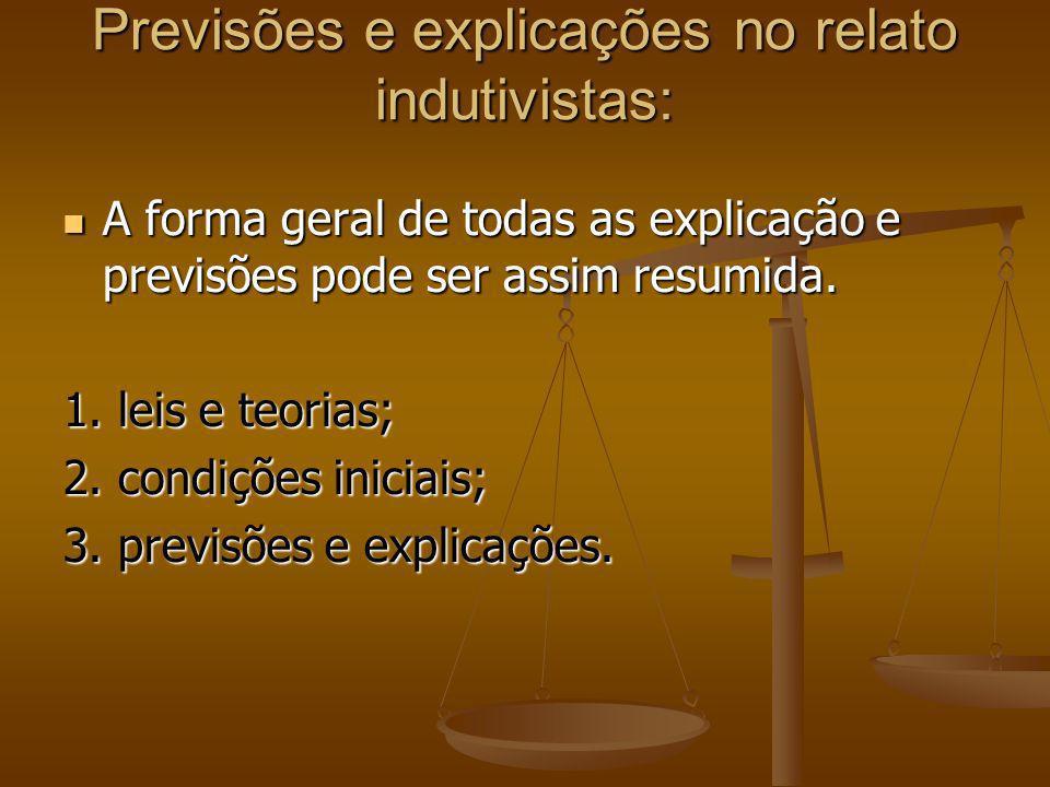 Previsões e explicações no relato indutivistas: A forma geral de todas as explicação e previsões pode ser assim resumida. A forma geral de todas as ex