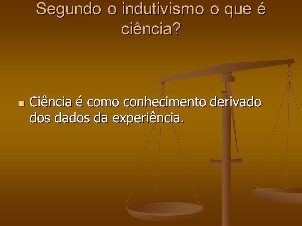 Segundo o indutivismo o que é ciência? Ciência é como conhecimento derivado dos dados da experiência. Ciência é como conhecimento derivado dos dados d