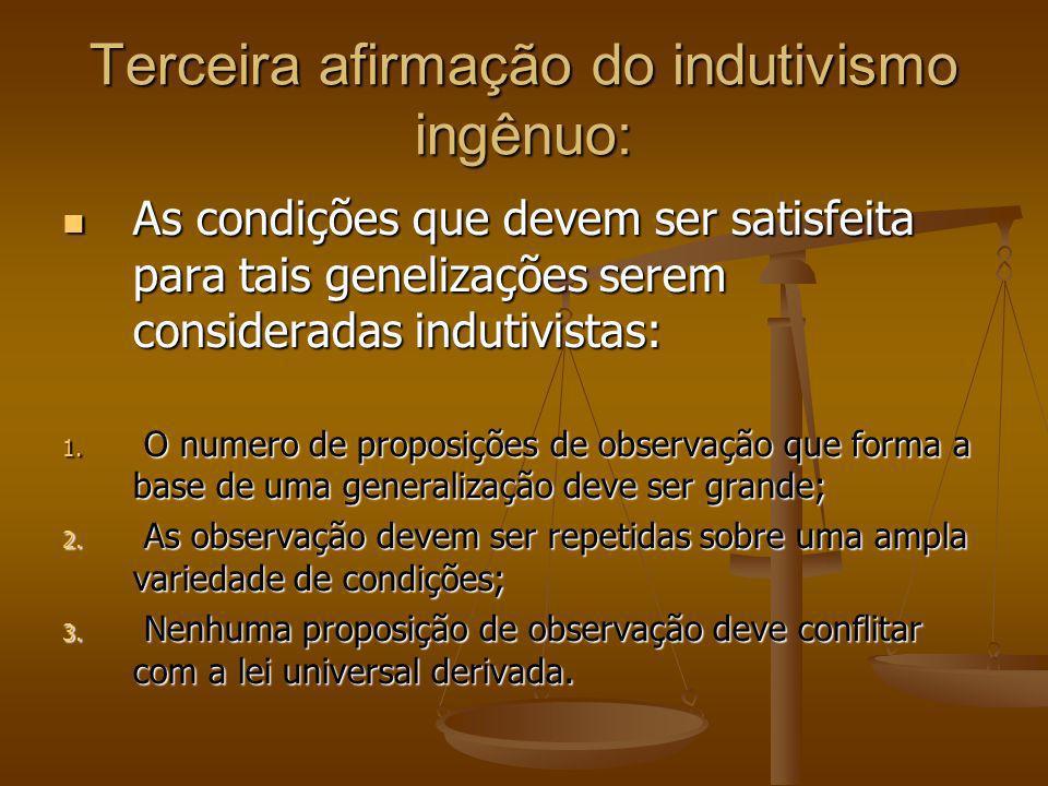 Terceira afirmação do indutivismo ingênuo: As condições que devem ser satisfeita para tais genelizações serem consideradas indutivistas: As condições