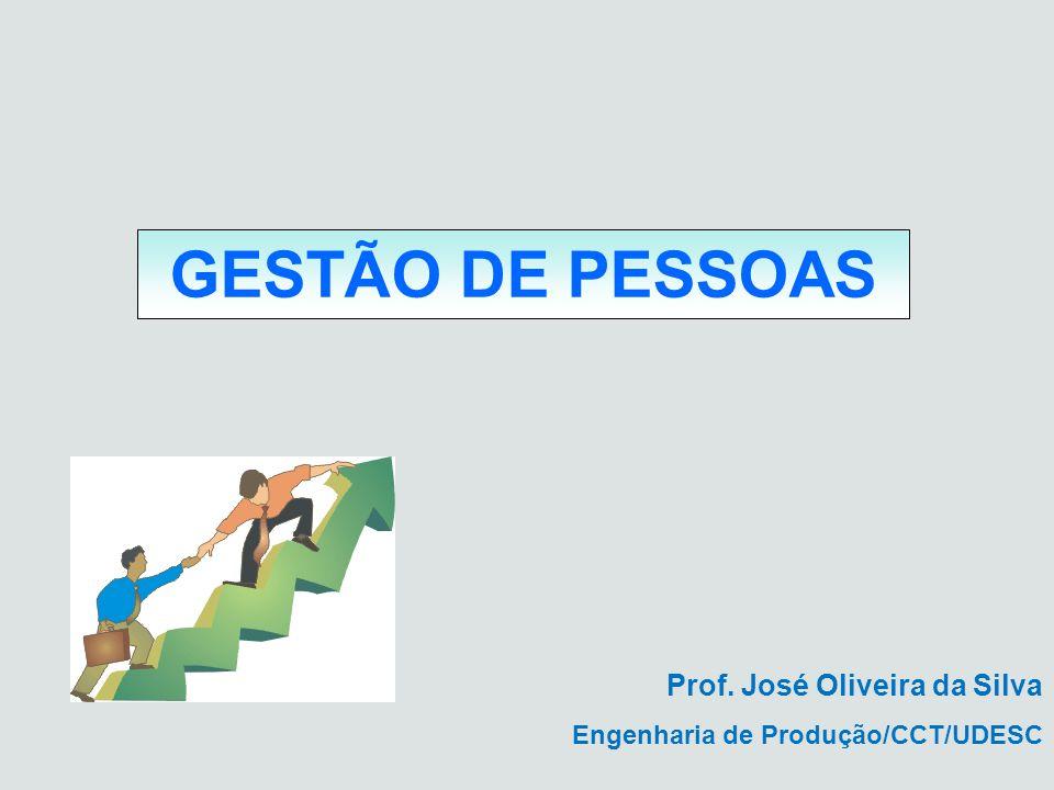 GESTÃO DE PESSOAS Prof. José Oliveira da Silva Engenharia de Produção/CCT/UDESC