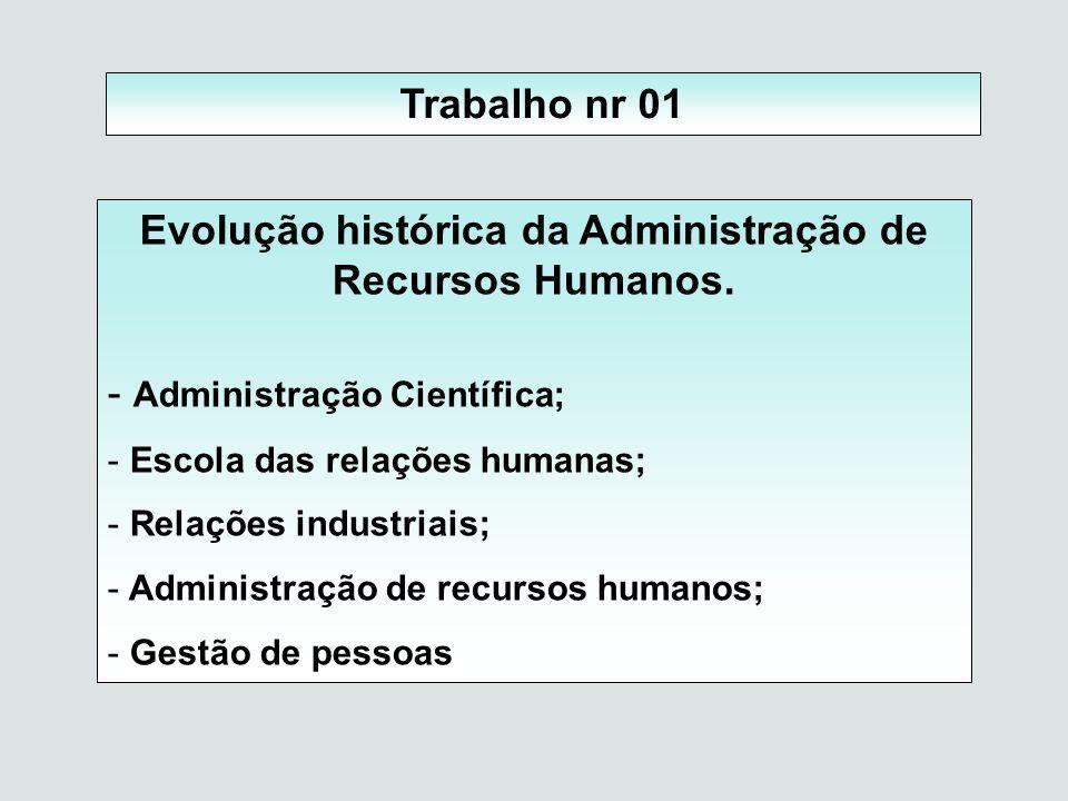 Trabalho nr 01 Evolução histórica da Administração de Recursos Humanos. - Administração Científica; - Escola das relações humanas; - Relações industri