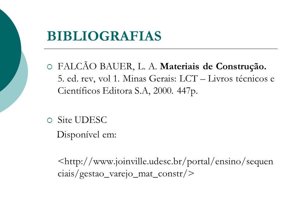 BIBLIOGRAFIAS FALCÃO BAUER, L. A. Materiais de Construção. 5. ed. rev, vol 1. Minas Gerais: LCT – Livros técnicos e Científicos Editora S.A, 2000. 447