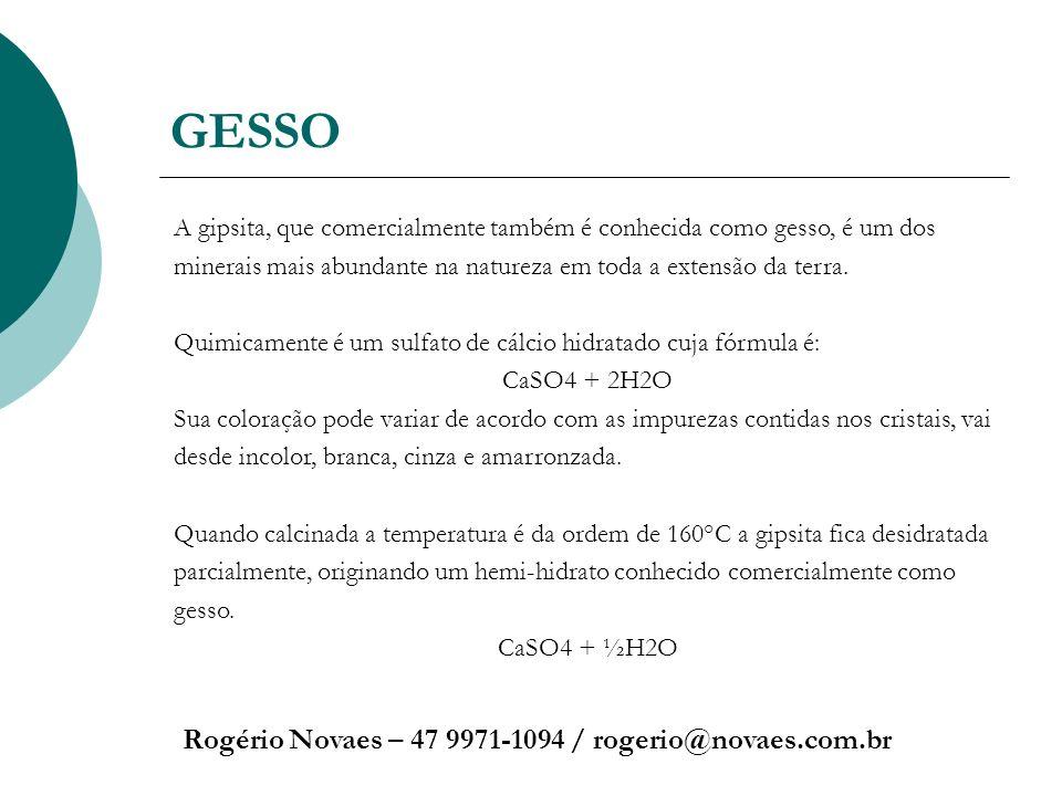 GESSO Rogério Novaes – 47 9971-1094 / rogerio@novaes.com.br A gipsita, que comercialmente também é conhecida como gesso, é um dos minerais mais abunda