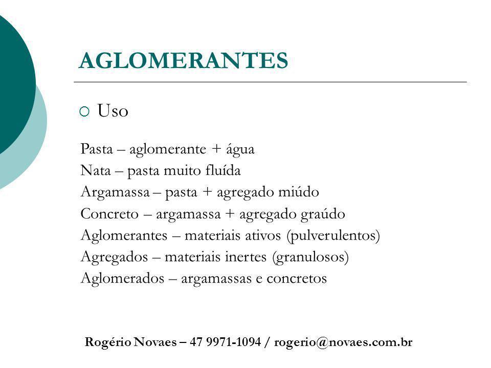 AGLOMERANTES Uso Rogério Novaes – 47 9971-1094 / rogerio@novaes.com.br Pasta – aglomerante + água Nata – pasta muito fluída Argamassa – pasta + agrega