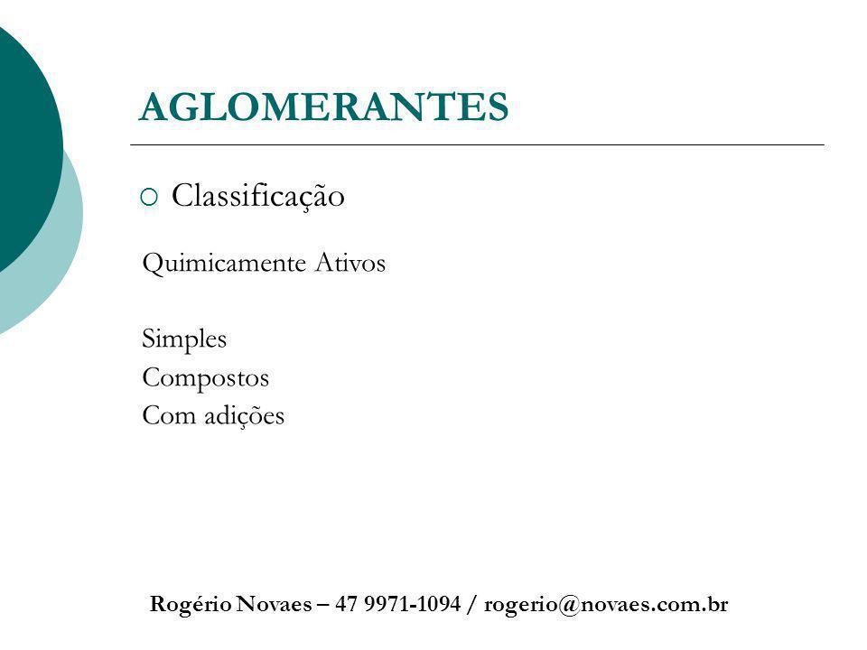 AGLOMERANTES Classificação Geral Rogério Novaes – 47 9971-1094 / rogerio@novaes.com.br Aéreos – Endurecem expostos ao ar e não resistem a ação da água.