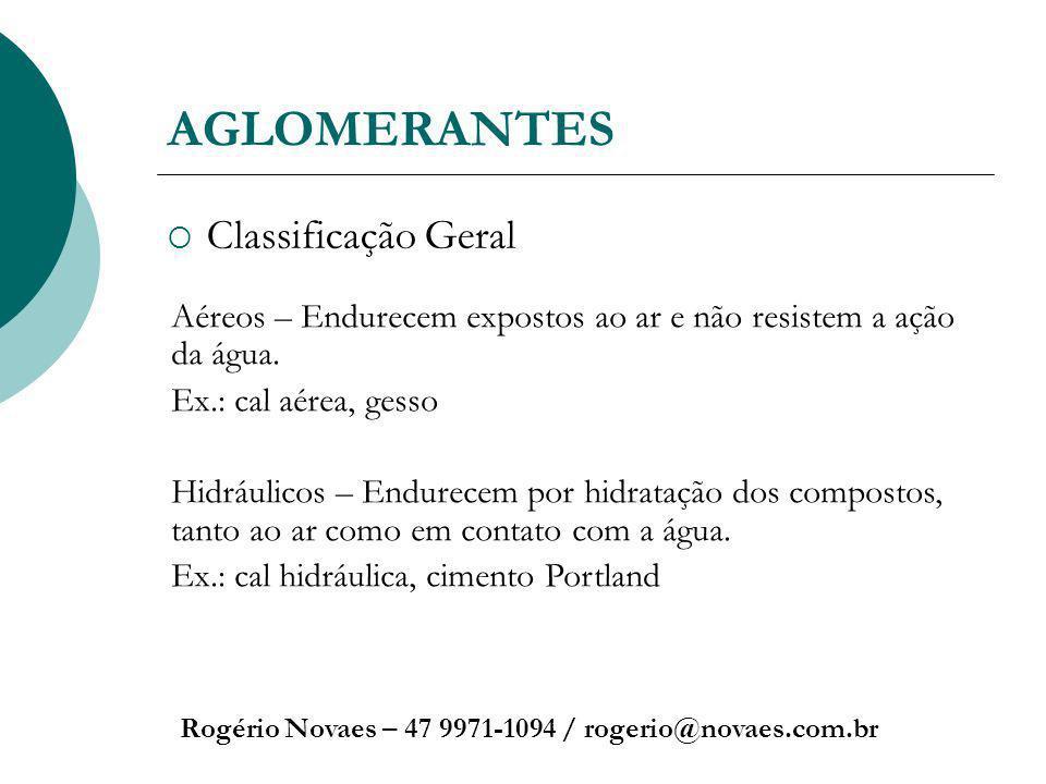 AGLOMERANTES Classificação Geral Rogério Novaes – 47 9971-1094 / rogerio@novaes.com.br Aéreos – Endurecem expostos ao ar e não resistem a ação da água