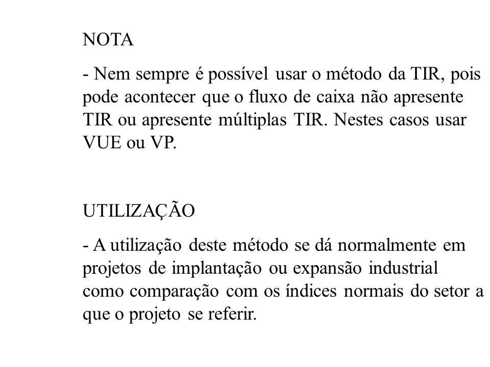 OBS: -A determinação da TIR não encerra a questão Comparar c/ TMA - Só é viável quando a TIR > TMA -Reinvestimento Diferenças aplicados a TMA