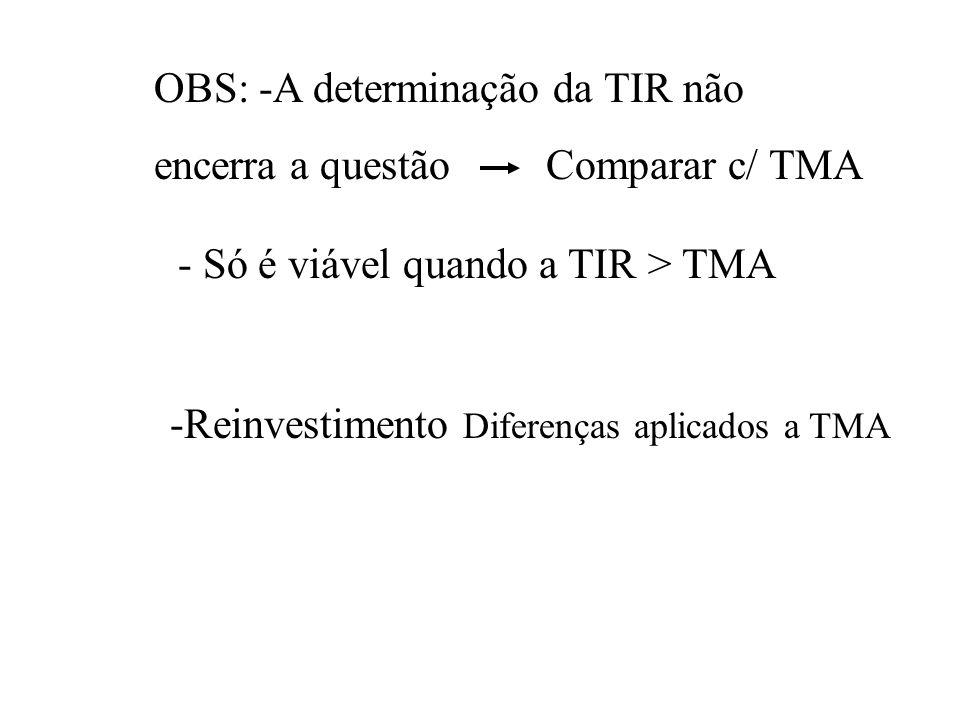- Se a TMA for < iA é melhor pois apresenta o maior VP - Se a TMA for > iB é melhor