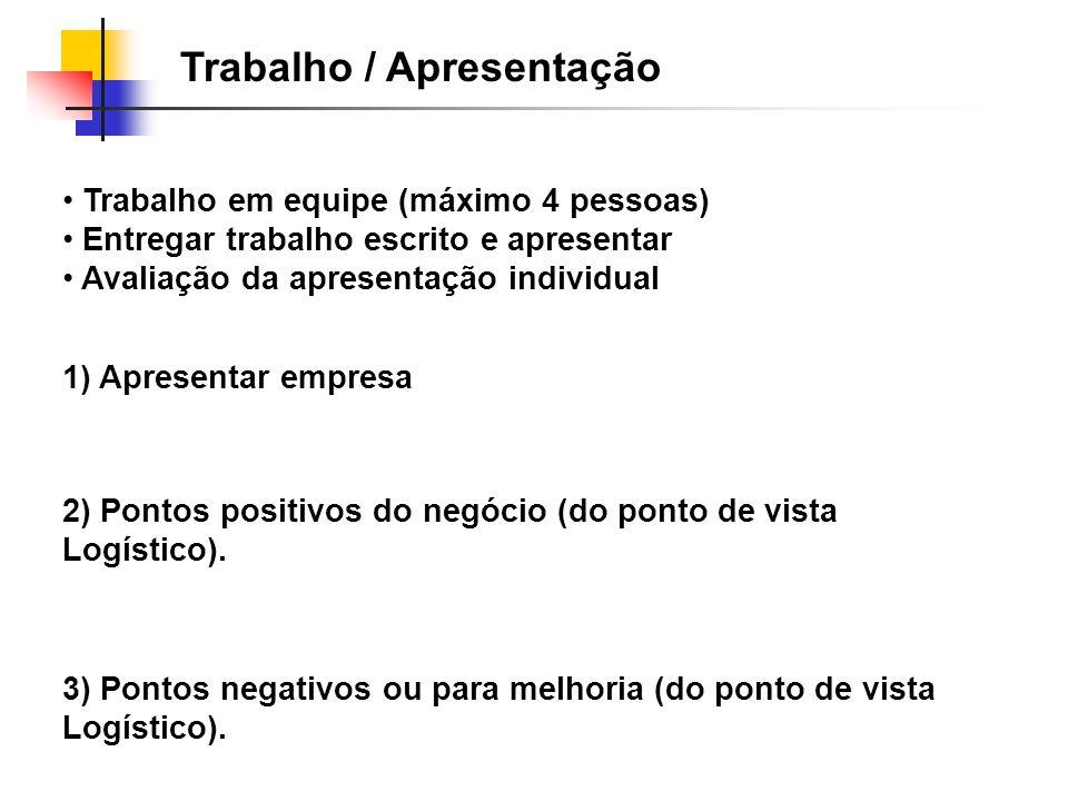 Trabalho / Apresentação 2) Pontos positivos do negócio (do ponto de vista Logístico). 1) Apresentar empresa 3) Pontos negativos ou para melhoria (do p