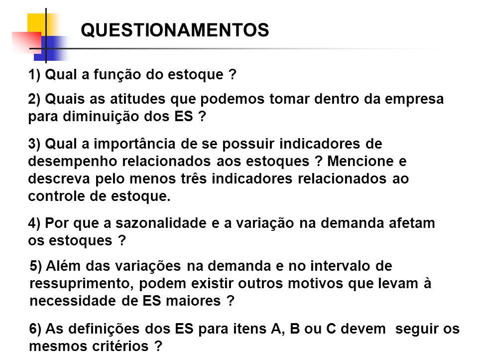 QUESTIONAMENTOS 2) Quais as atitudes que podemos tomar dentro da empresa para diminuição dos ES ? 5) Além das variações na demanda e no intervalo de r