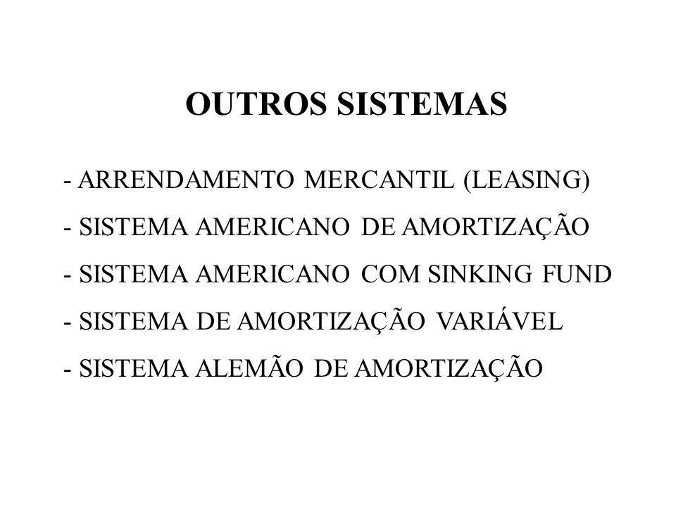 OUTROS SISTEMAS - ARRENDAMENTO MERCANTIL (LEASING) - SISTEMA AMERICANO DE AMORTIZAÇÃO - SISTEMA AMERICANO COM SINKING FUND - SISTEMA DE AMORTIZAÇÃO VA
