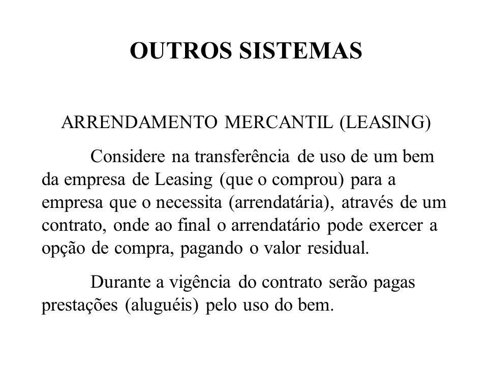 OUTROS SISTEMAS ARRENDAMENTO MERCANTIL (LEASING) Considere na transferência de uso de um bem da empresa de Leasing (que o comprou) para a empresa que