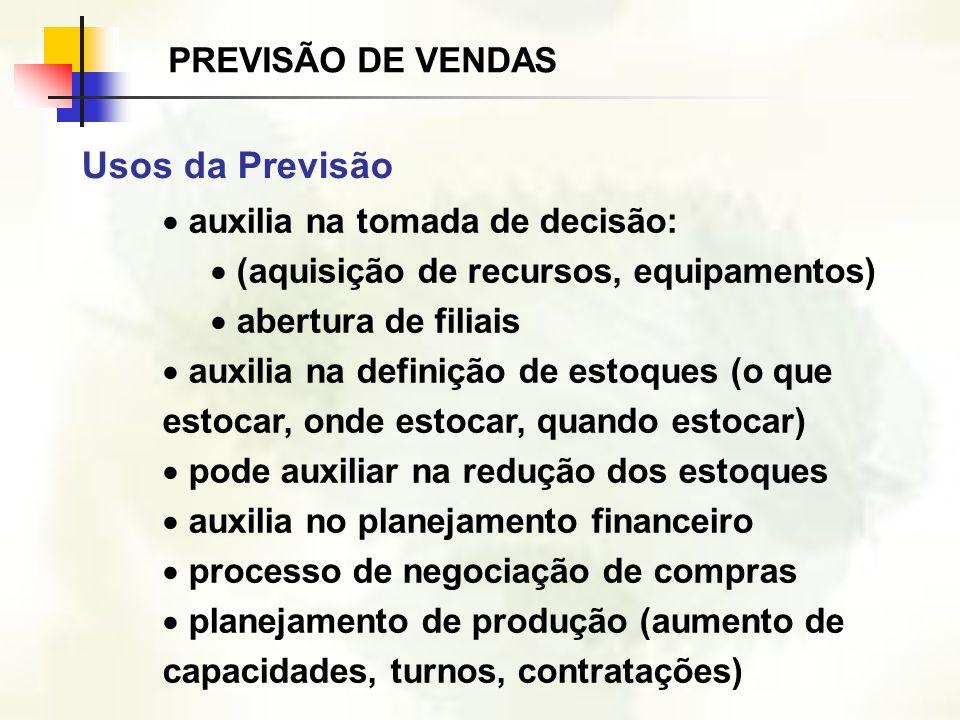 auxilia na tomada de decisão: (aquisição de recursos, equipamentos) abertura de filiais auxilia na definição de estoques (o que estocar, onde estocar,