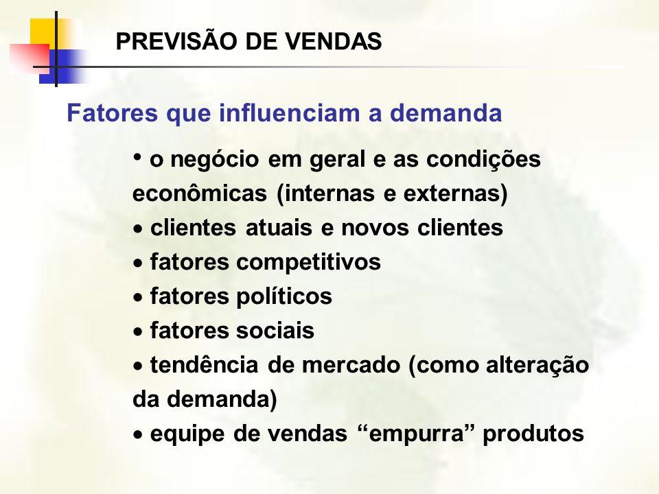 o negócio em geral e as condições econômicas (internas e externas) clientes atuais e novos clientes fatores competitivos fatores políticos fatores soc