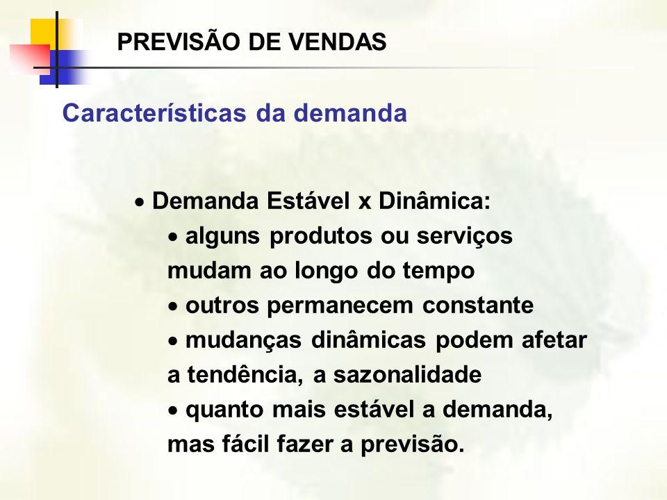Demanda Estável x Dinâmica: alguns produtos ou serviços mudam ao longo do tempo outros permanecem constante mudanças dinâmicas podem afetar a tendênci