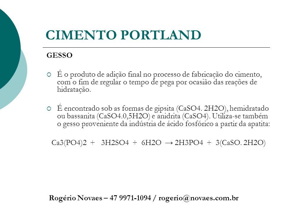 CIMENTO PORTLAND Rogério Novaes – 47 9971-1094 / rogerio@novaes.com.br GESSO É o produto de adição final no processo de fabricação do cimento, com o f