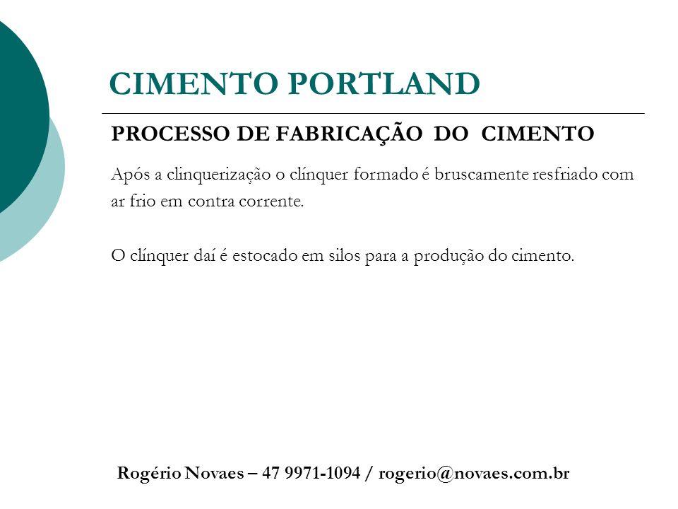 CIMENTO PORTLAND Rogério Novaes – 47 9971-1094 / rogerio@novaes.com.br PROCESSO DE FABRICAÇÃO DO CIMENTO Após a clinquerização o clínquer formado é br