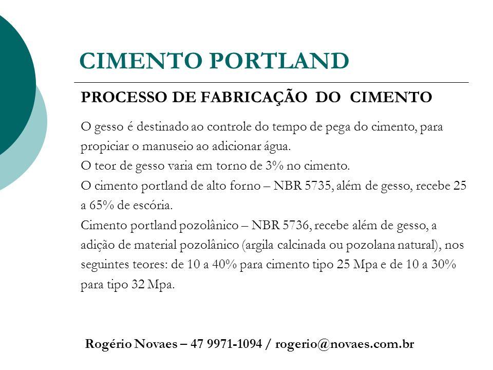 CIMENTO PORTLAND Rogério Novaes – 47 9971-1094 / rogerio@novaes.com.br PROCESSO DE FABRICAÇÃO DO CIMENTO O gesso é destinado ao controle do tempo de p