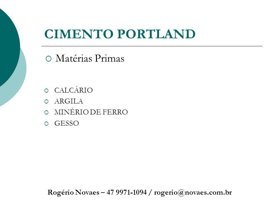 CIMENTO PORTLAND Rogério Novaes – 47 9971-1094 / rogerio@novaes.com.br CALCÁRIO ARGILA MINÉRIO DE FERRO GESSO Matérias Primas