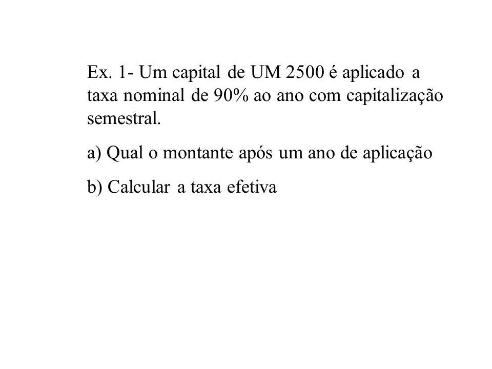 CONVERSÃO DE TAXA NOMINAL EM EFETIVA Sejam: - r = taxa nominal capitalizada m vezes por período - i = taxa efetiva por período - P = principal a taxa