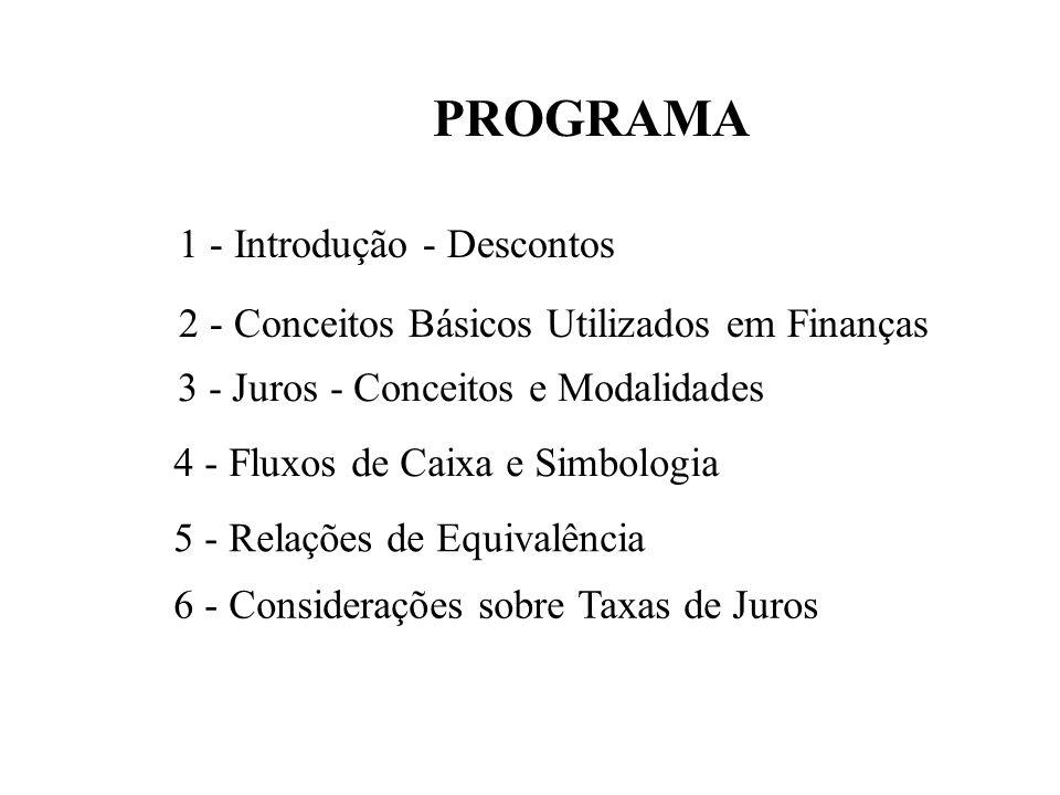 PROGRAMA 1 - Introdução - Descontos 2 - Conceitos Básicos Utilizados em Finanças 3 - Juros - Conceitos e Modalidades 4 - Fluxos de Caixa e Simbologia 5 - Relações de Equivalência 6 - Considerações sobre Taxas de Juros