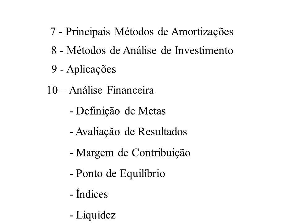 7 - Principais Métodos de Amortizações 8 - Métodos de Análise de Investimento 9 - Aplicações 10 – Análise Financeira - Definição de Metas - Avaliação de Resultados - Margem de Contribuição - Ponto de Equilíbrio - Índices - Liquidez