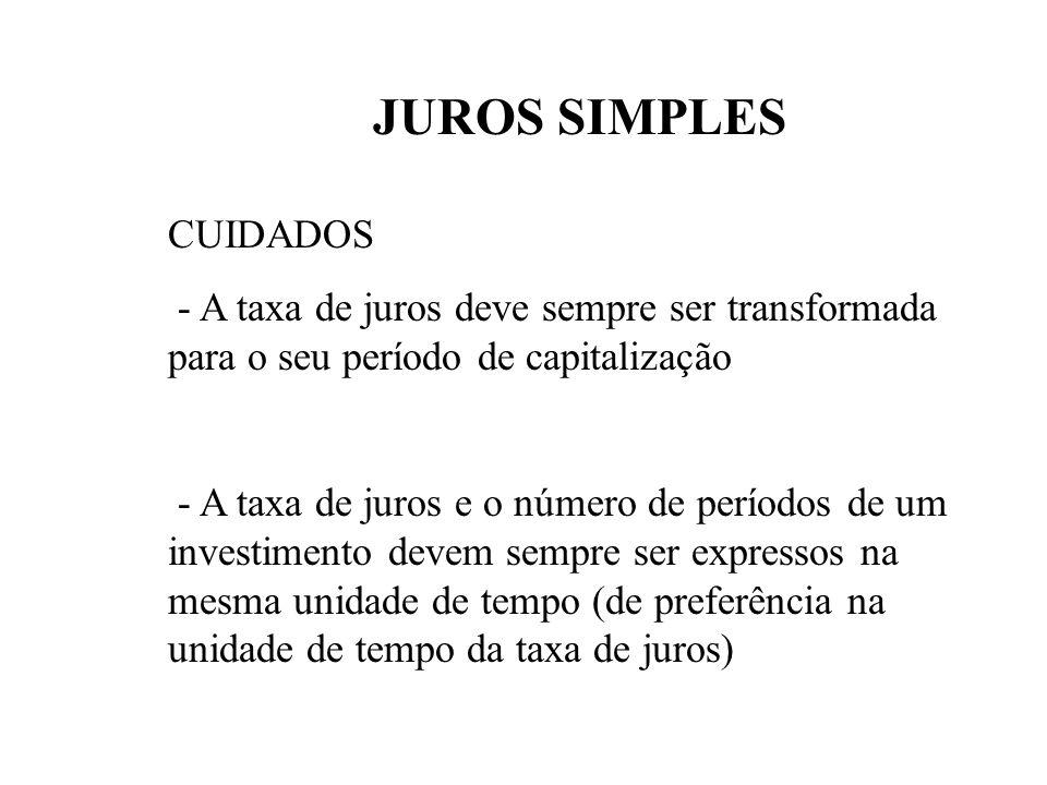 JUROS SIMPLES CARACTERIZAÇÃO Apenas o Principal rende juros, isto é, os juros são diretamente proporcionais ao Capital emprestado FÓRMULAS J = i. P. n