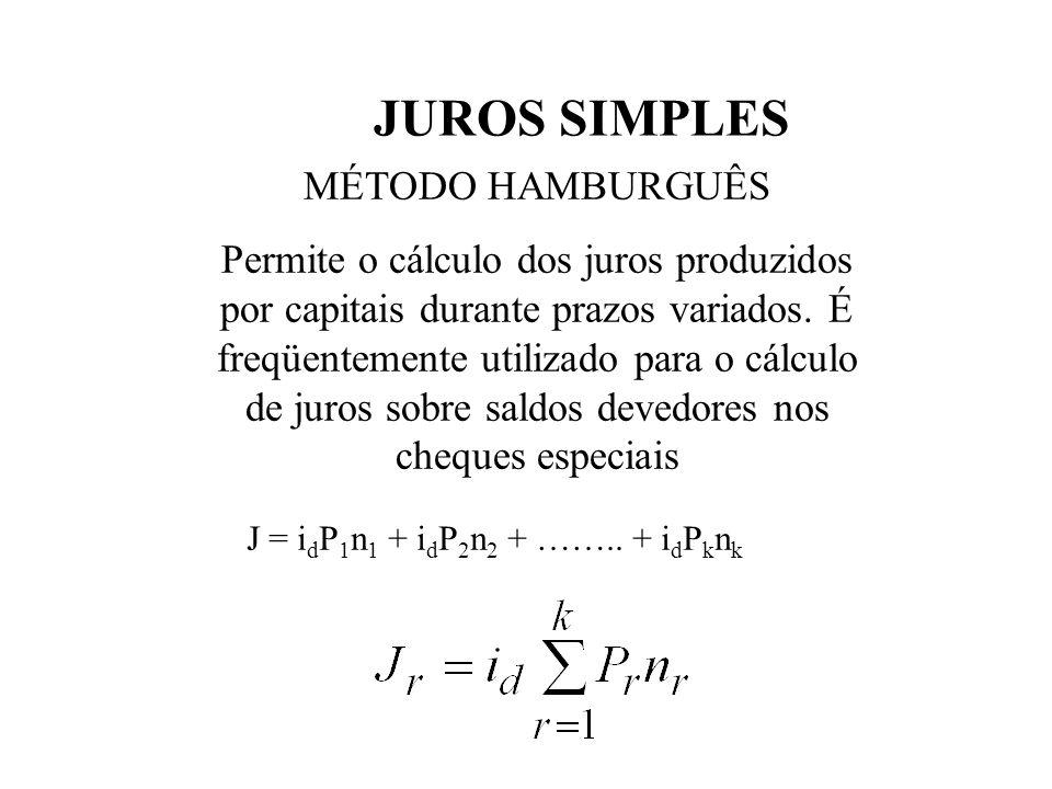 JUROS SIMPLES TAXAS EQUIVALENTES Duas taxas são equivalentes se aplicadas a um Capital num mesmo intervalo de tempo (múltiplo do tempo das taxas) prod