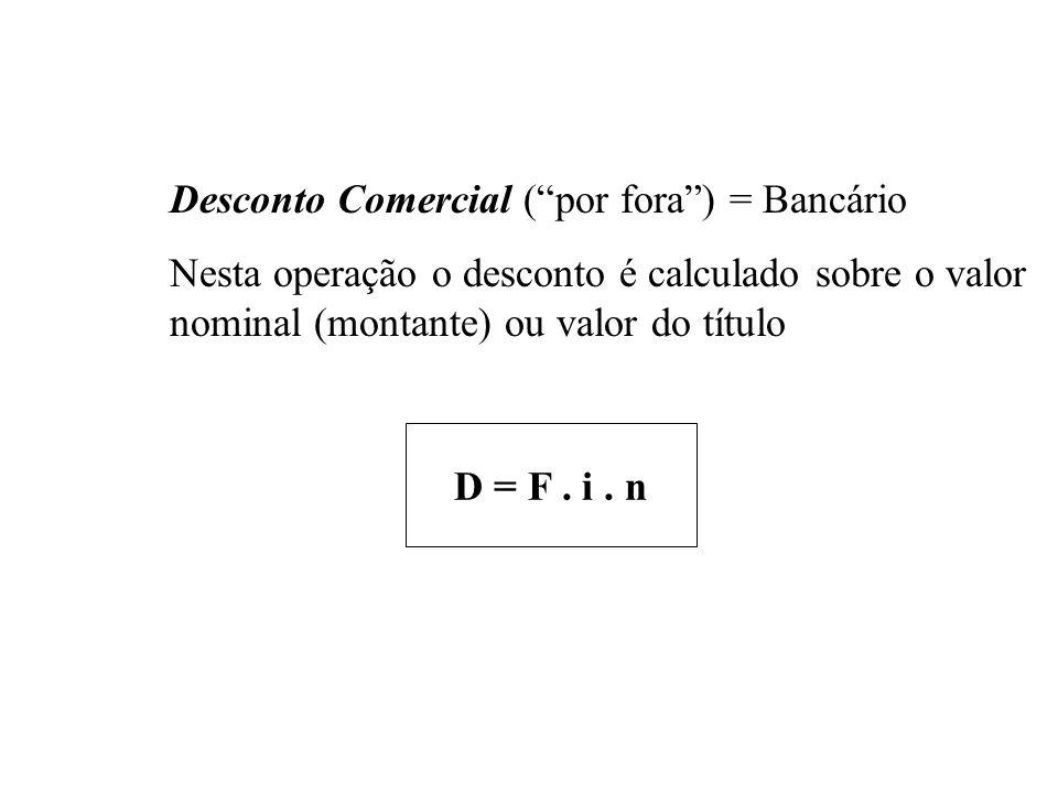 Ex. 6 Calcular o desconto simples por dentro, à taxa de 10,8% ao ano, para uma antecipação de 5 meses e 20 dias na quitação de um título com valor nom