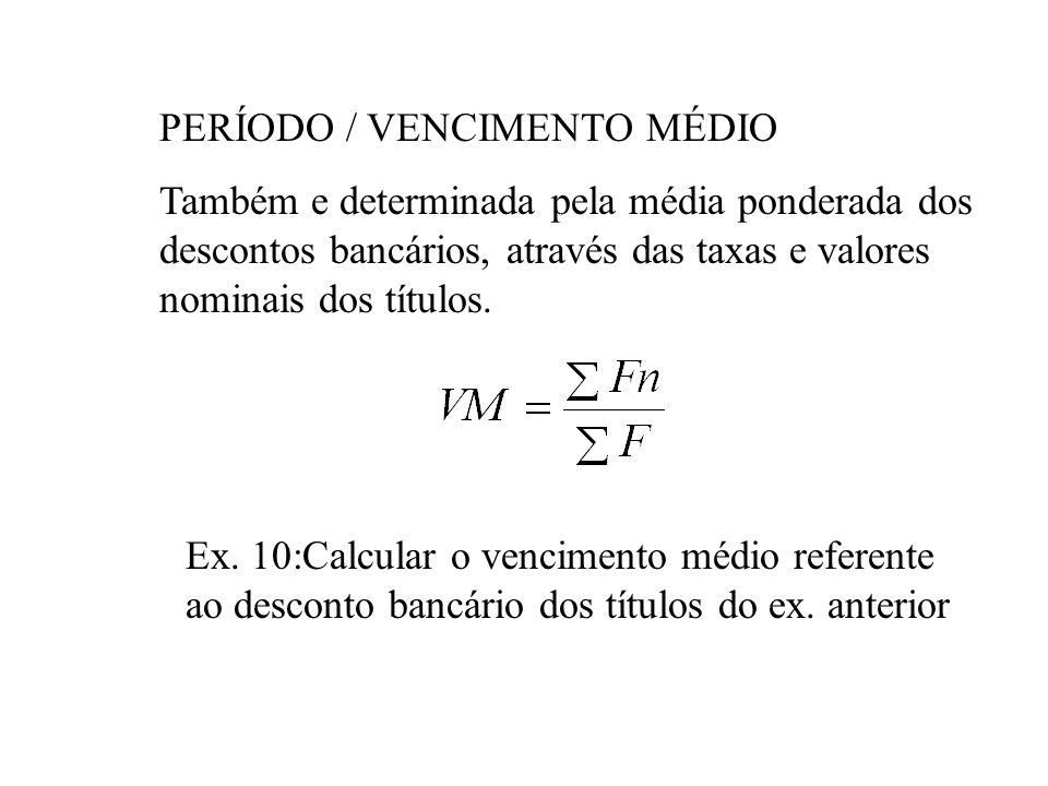 Ex.9 - Calcular a taxa média correspondente aos descontos bancários dos títulos: Valor Nominal UM 250,00 vcto 4m taxa 5%a.m. Valor Nominal UM 400,00 v