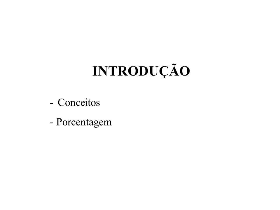 INTRODUÇÃO - Conceitos - Porcentagem