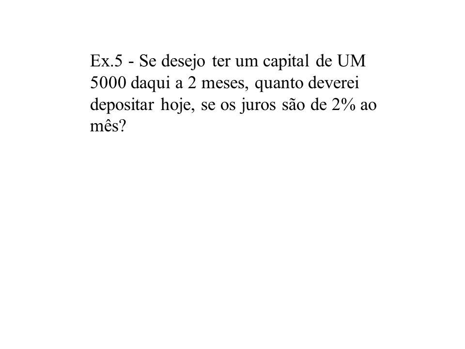 Ex. 4:Uma aplicação rende 5%am. Se aplicarmos UM 1.000 hoje, quanto terei daqui a 3 meses? A) fórmula b)tabela