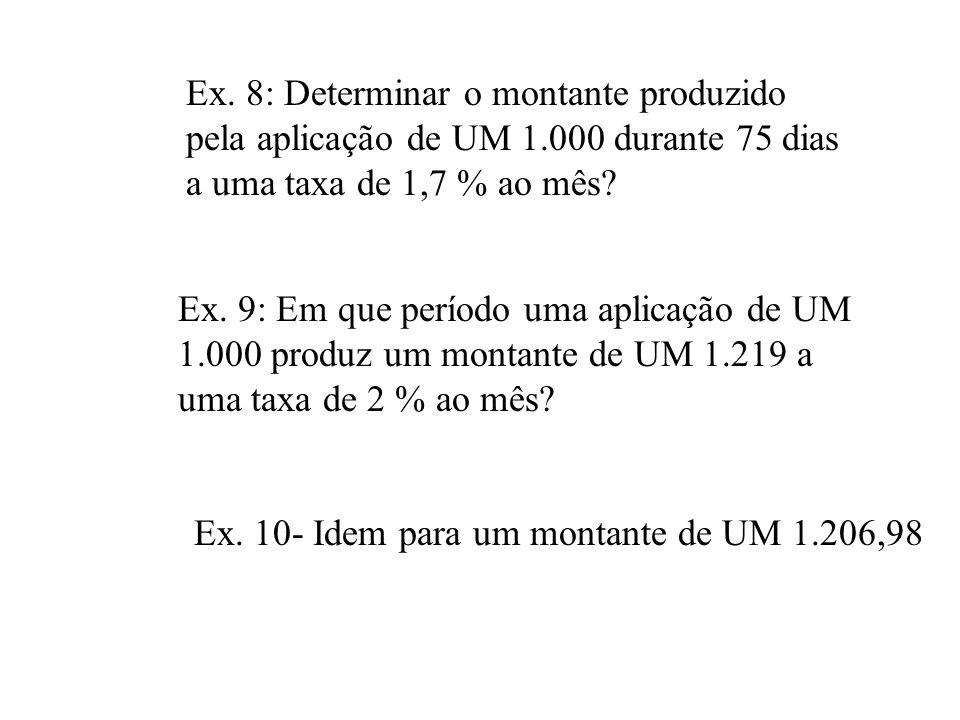 Exemplo 7: Quanto deverá receber uma pessoa que empresta UM 5.000,00 por 8 meses, a taxa de 10% ao mês? f FIN 5.000 CHS PV 8 n 10 i FV 10.717,94