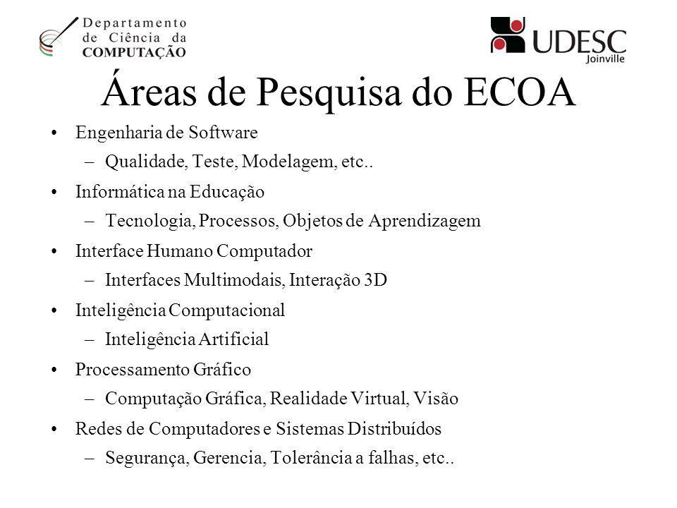 Áreas de Pesquisa do ECOA Engenharia de Software –Qualidade, Teste, Modelagem, etc.. Informática na Educação –Tecnologia, Processos, Objetos de Aprend