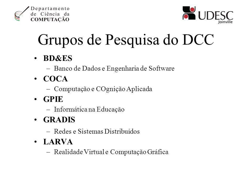Grupos de Pesquisa do DCC BD&ES –Banco de Dados e Engenharia de Software COCA –Computação e COgnição Aplicada GPIE –Informática na Educação GRADIS –Re