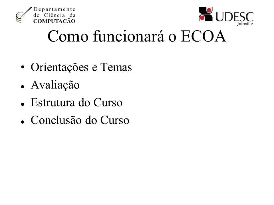 Como funcionará o ECOA Orientações e Temas Avaliação Estrutura do Curso Conclusão do Curso