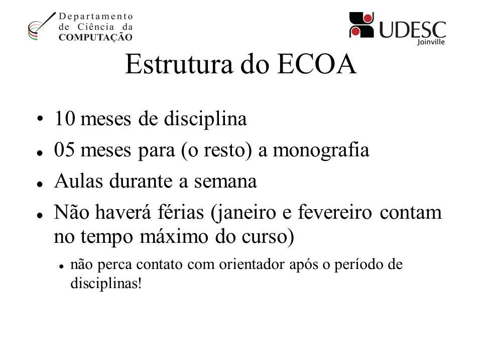 Estrutura do ECOA 10 meses de disciplina 05 meses para (o resto) a monografia Aulas durante a semana Não haverá férias (janeiro e fevereiro contam no