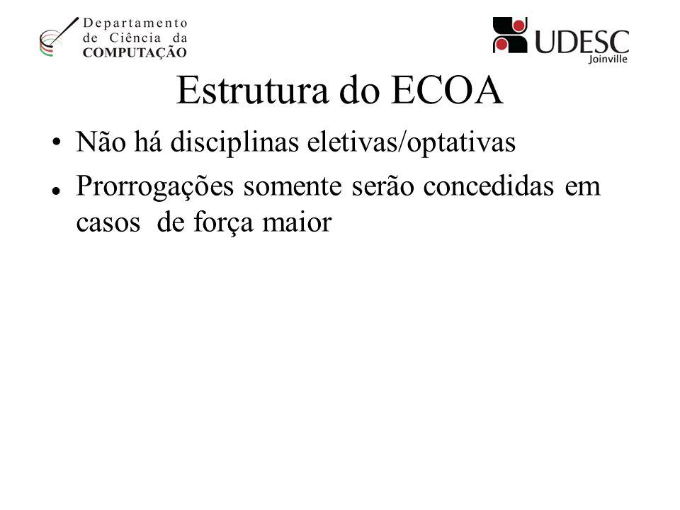 Estrutura do ECOA Não há disciplinas eletivas/optativas Prorrogações somente serão concedidas em casos de força maior